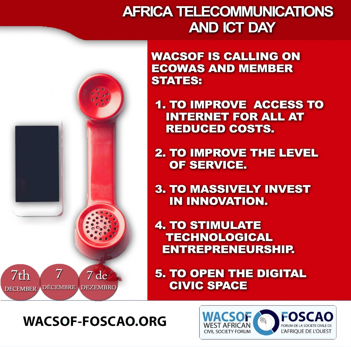 OUR RECOMMENDATIONS FOR THE AFRICAN TELECOMMUNICATIONS ICT AND DAY