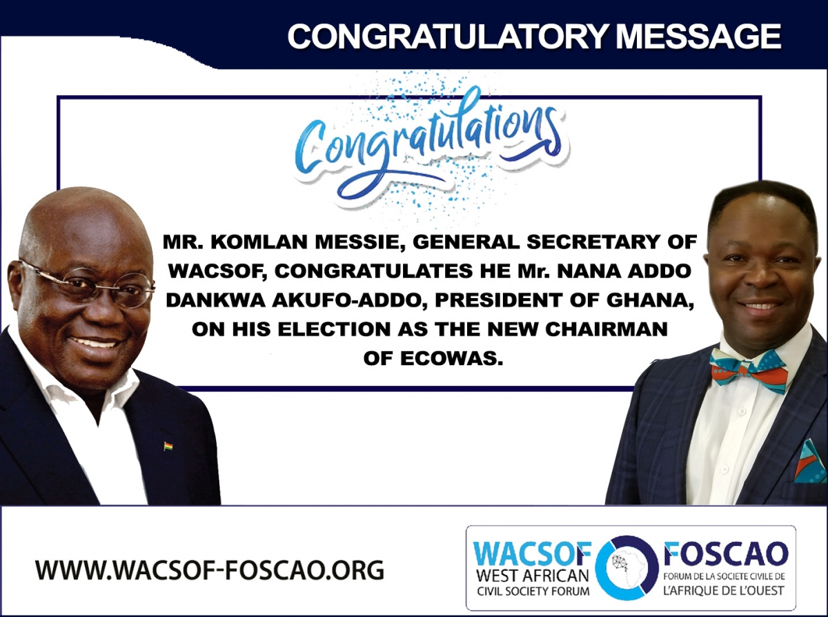 WACSOF CONGRATULATES THE NEW CHAIRMAN OF ECOWAS